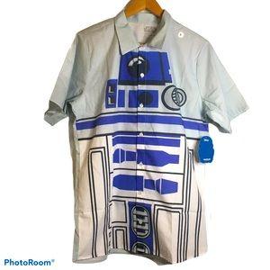 Star Wars R2D2 Button Down Shirt Disney Large